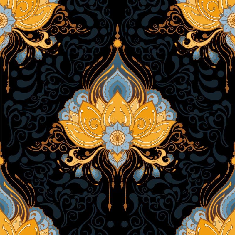 Indisk för sömlös-modell för vektor för lotusblommablomma meditation för yoga för stil för tatuering för henna mehndi el royaltyfri illustrationer