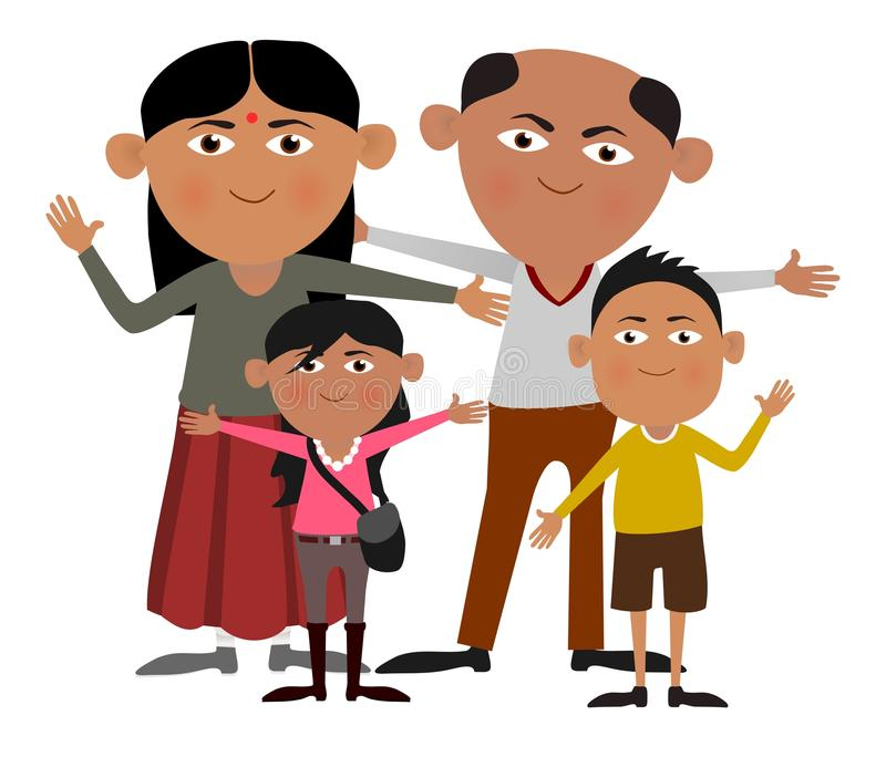 Indisk familj vektor illustrationer
