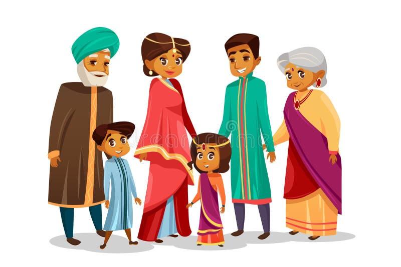 Indisk familj för vektortecknad film i nationell dräkt royaltyfri illustrationer