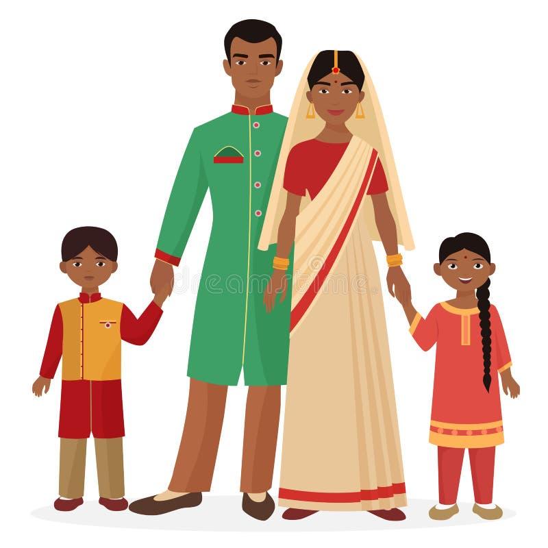 Indisk familj Indisk man och kvinna med pojke- och flickaungar i traditionell nationell kläder vektor illustrationer