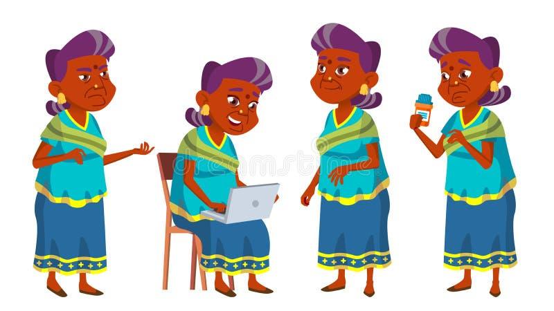 Indisk fastställd vektor för gammal kvinna Äldre folk Hinduiskt i sari Hög person igen Vänlig morförälder Rengöringsduk affisch vektor illustrationer