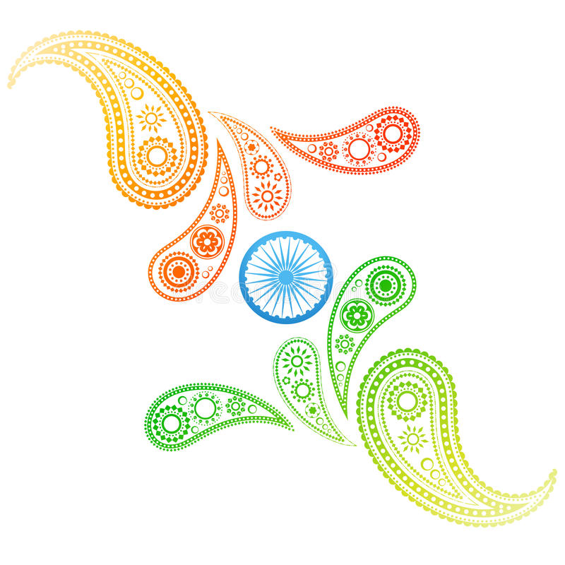 Indisk flagga för idérik stil vektor illustrationer