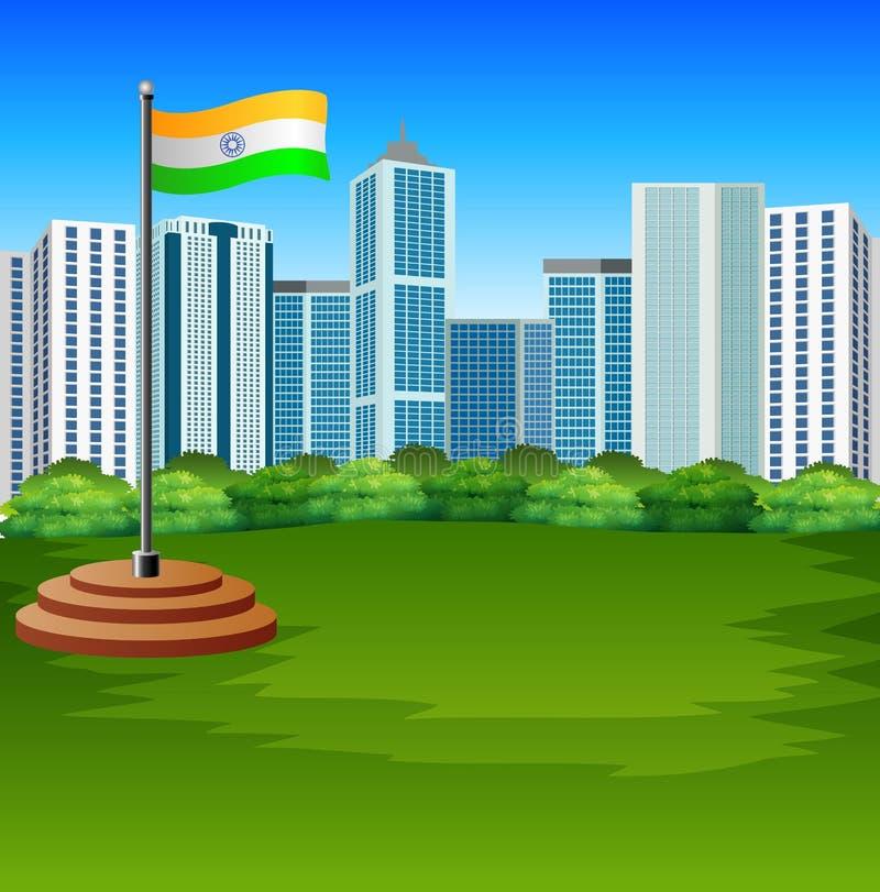 Indisk flagga för tecknad film som fladdrar med stads- bakgrund stock illustrationer