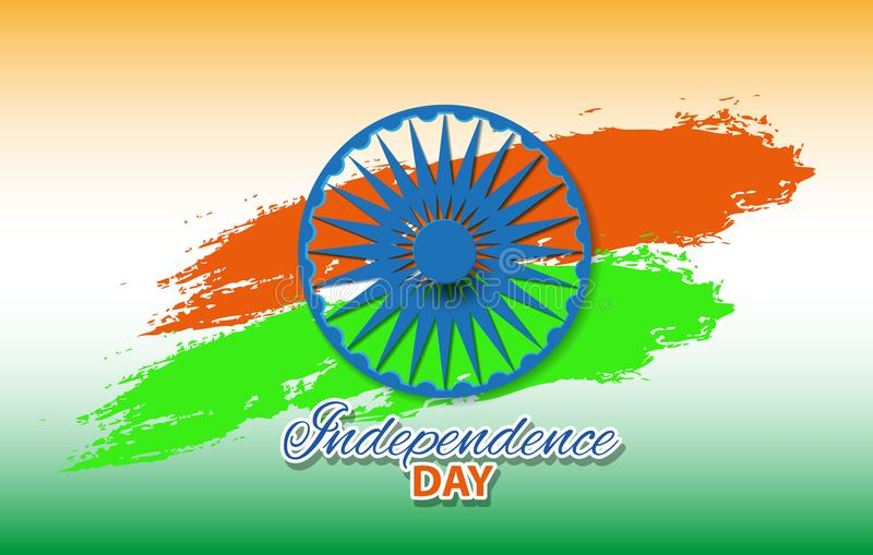 indisk flagga för vektor som göras med färgslaglängder i tricolor bakgrundsillustration royaltyfri illustrationer