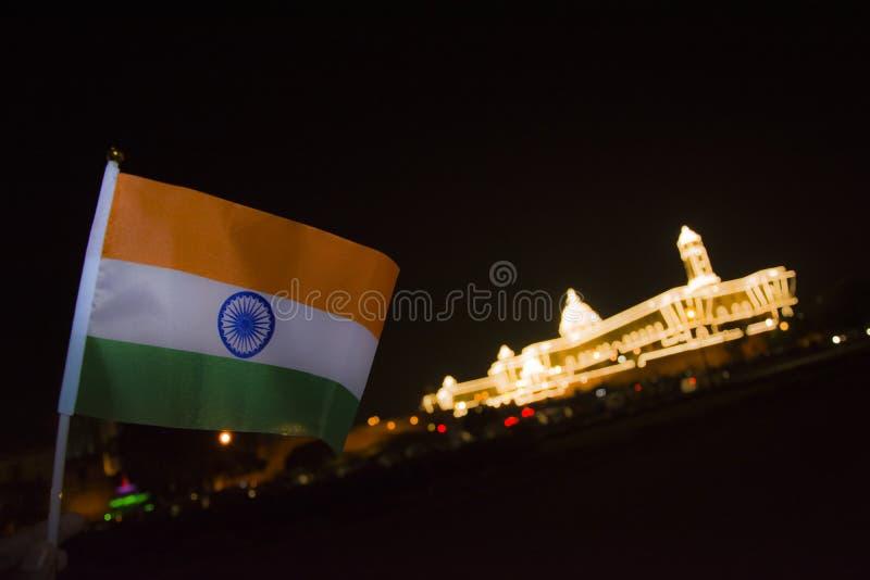 Indisk flagga med presidents hus royaltyfri foto