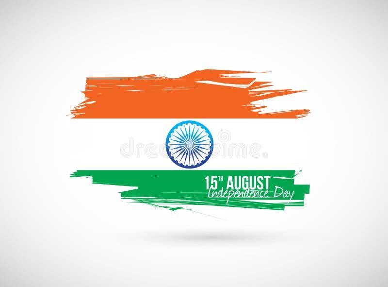 Indisk flagga. självständighetsdagendesign royaltyfri illustrationer