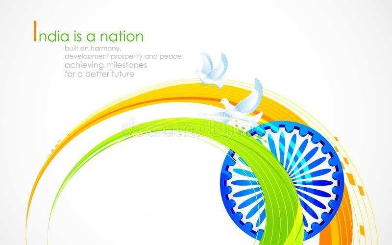 Indisk flagga som är tricolor med Ashok Chakra vektor illustrationer