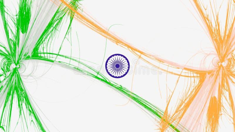 Indisk flaggaillustration för självständighet- och republikdag stock illustrationer