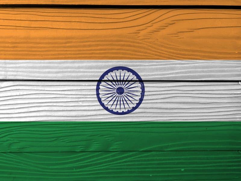 Indisk flaggatextur för Grunge som är tricolor av Indien saffran, orange vit och gräsplan med det Ashoka Chakra hjulet stock illustrationer