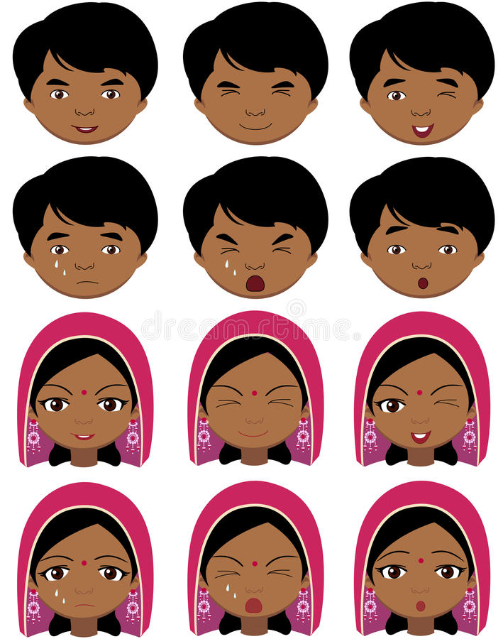 Indisk flicka i en huvudbonad och pojkesinnesrörelser: glädje överraskning royaltyfri illustrationer