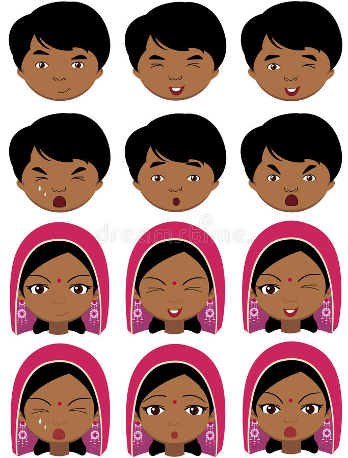 Indisk flicka i en huvudbonad och pojkesinnesrörelser: glädje överraskning, skräck royaltyfri illustrationer