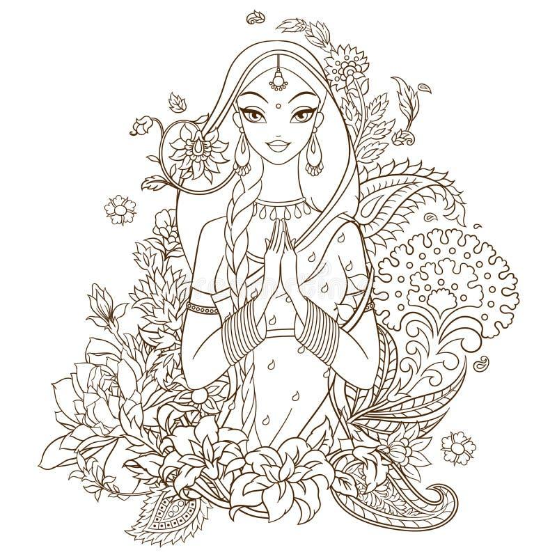 Indisk flicka i sari som omges med blommor och prydnader Vektorlinje konstillustration som isoleras på vit bakgrund stock illustrationer