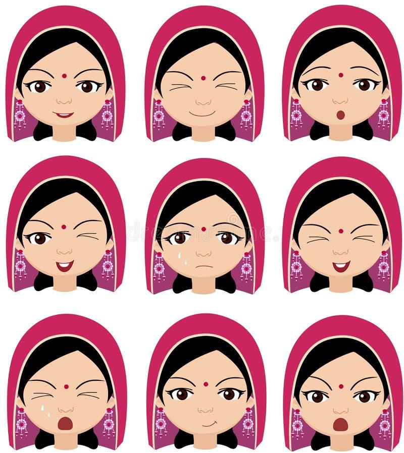 Indisk flicka i sinnesrörelser för en huvudbonad: glädje överraskning, skräck, sadnes vektor illustrationer