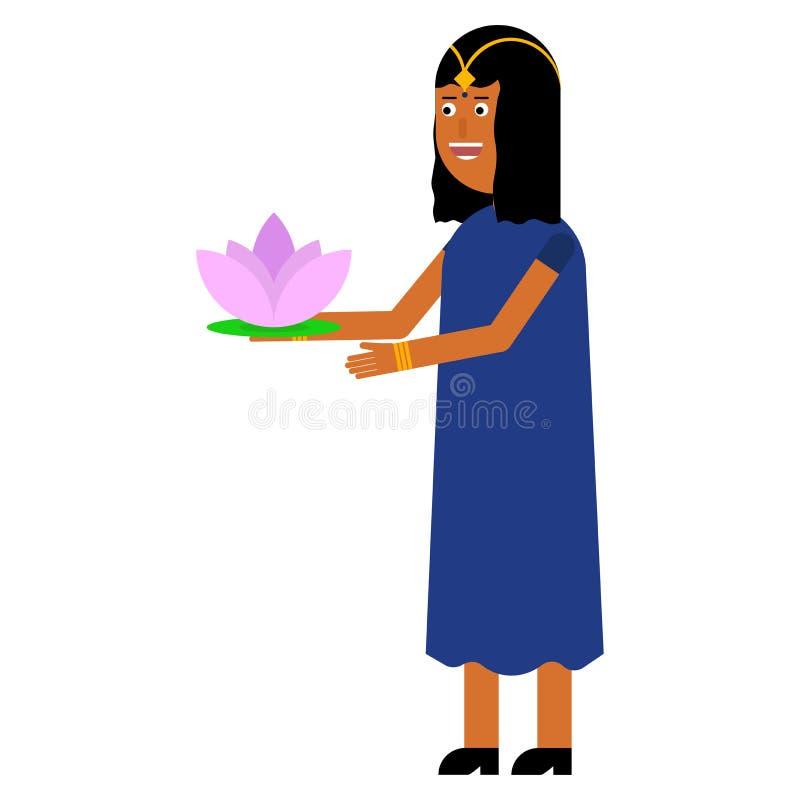 Indisk flicka med lotusblommablomman stock illustrationer
