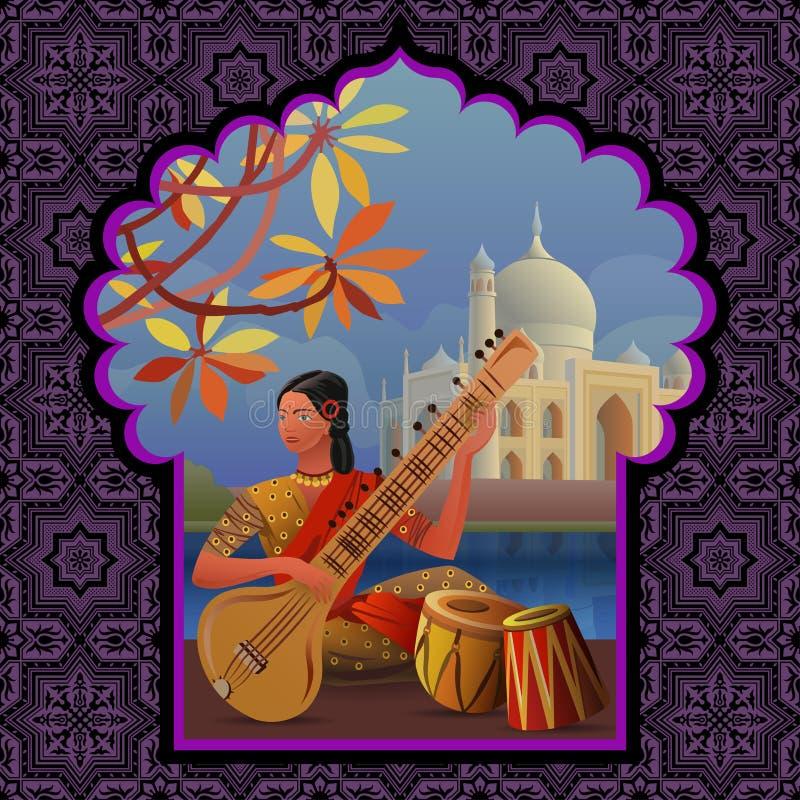Indisk flicka som spelar sitaren nära Taj Mahal stock illustrationer