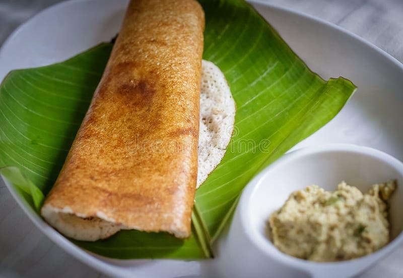 Indisk frukost - Masala Dosa arkivfoto