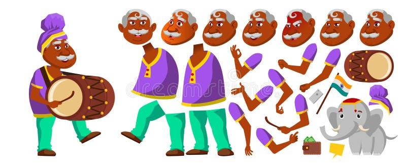 Indisk gamal manvektor hinduiskt asiat Hög person med valsen, Tutban, elefant Äldre folk igen Animeringskapelse royaltyfri illustrationer