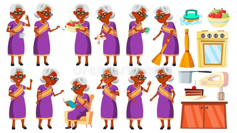 Indisk gammal kvinna i Sari Poses Set Vector Äldre folk hinduiskt asiat Hög person igen Gladlynt morförälder stock illustrationer