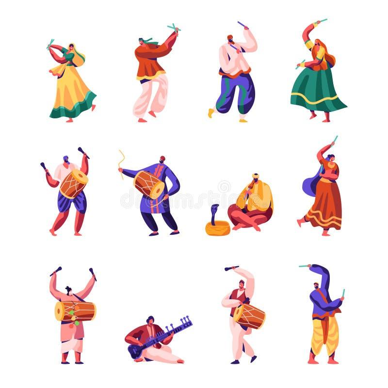 Indisk gatakonstnäruppsättning Musiker och dansare i den färgrika klänningen som utför på gatan som spelar traditionella instrume stock illustrationer