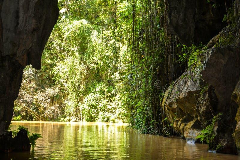 Indisk grottaflod? Vinales Kuba arkivfoto