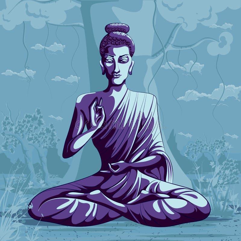 Indisk gudBuddha i meditation vektor illustrationer