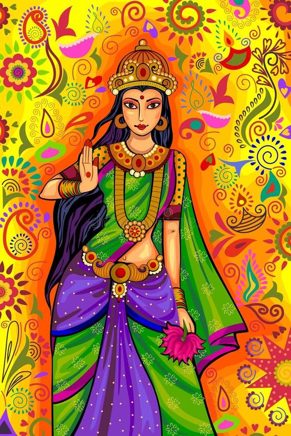 Indisk gudinna Lakshmi för Diwali festivalberöm i Indien vektor illustrationer