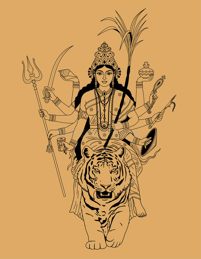 Indisk gudinnadurga vektor illustrationer