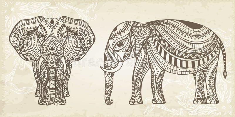 Indisk hand dragen elefant Arabisk och judisk amulett också vektor för coreldrawillustration vektor illustrationer