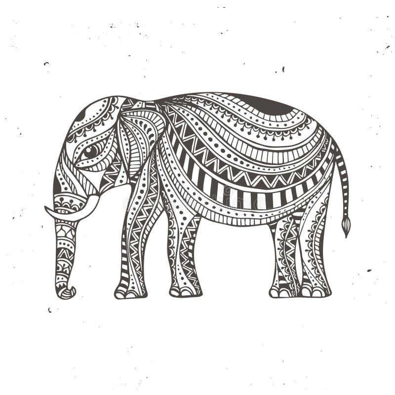 Indisk hand dragen elefant Arabisk och judisk amulett också vektor för coreldrawillustration royaltyfri illustrationer