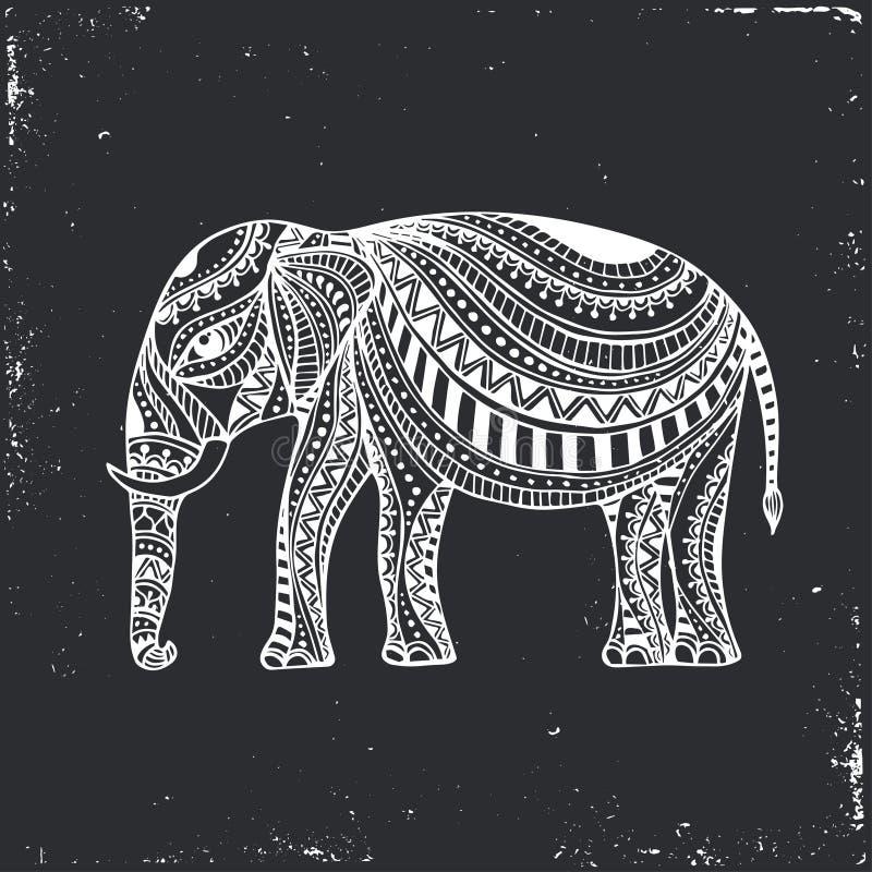 Indisk hand dragen elefant Arabisk och judisk amulett också vektor för coreldrawillustration stock illustrationer