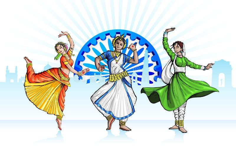 Indisk klassisk dansare royaltyfri illustrationer