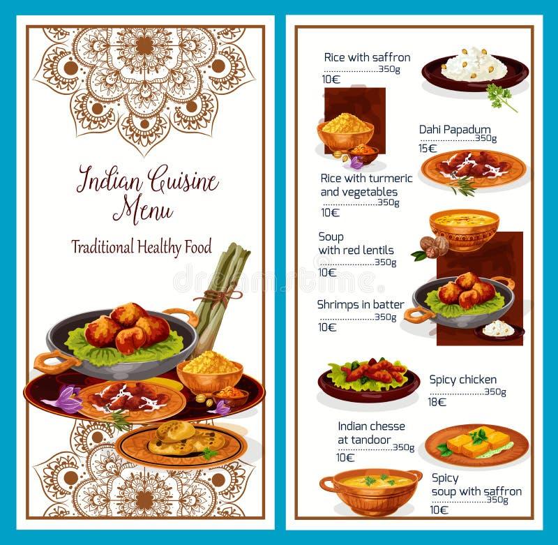 Indisk kokkonstmeny med traditionell sund mat royaltyfri illustrationer