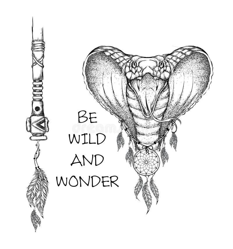 Indisk krigare för kobra, djur hand dragen illustration, indianaffisch Illustration för handattraktionvektor royaltyfri illustrationer