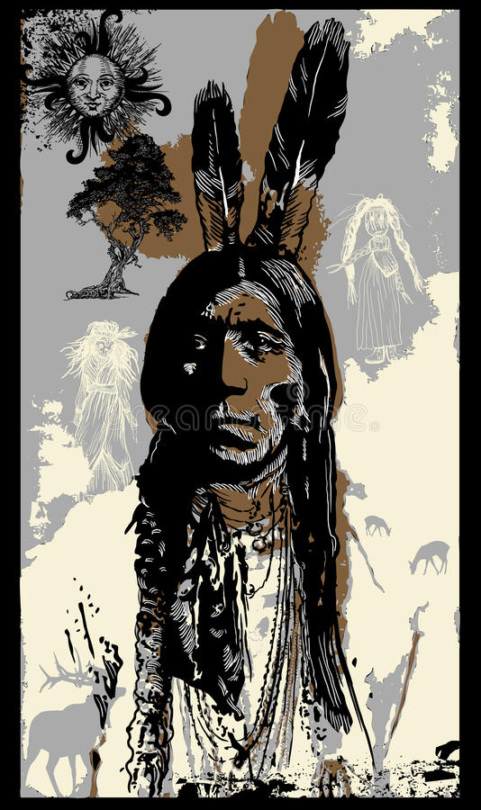 Indisk krigare, stående för sammanträdetjur - skissa Freehand, vektorn stock illustrationer