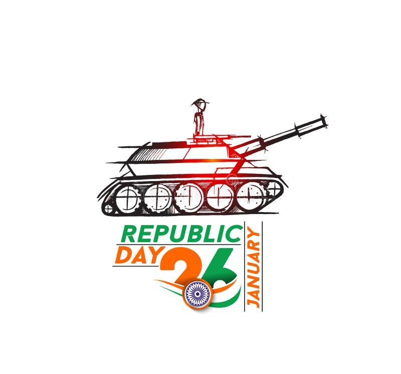 Indisk krigsmaktaffisch eller baner, indisk republikdagconcep stock illustrationer