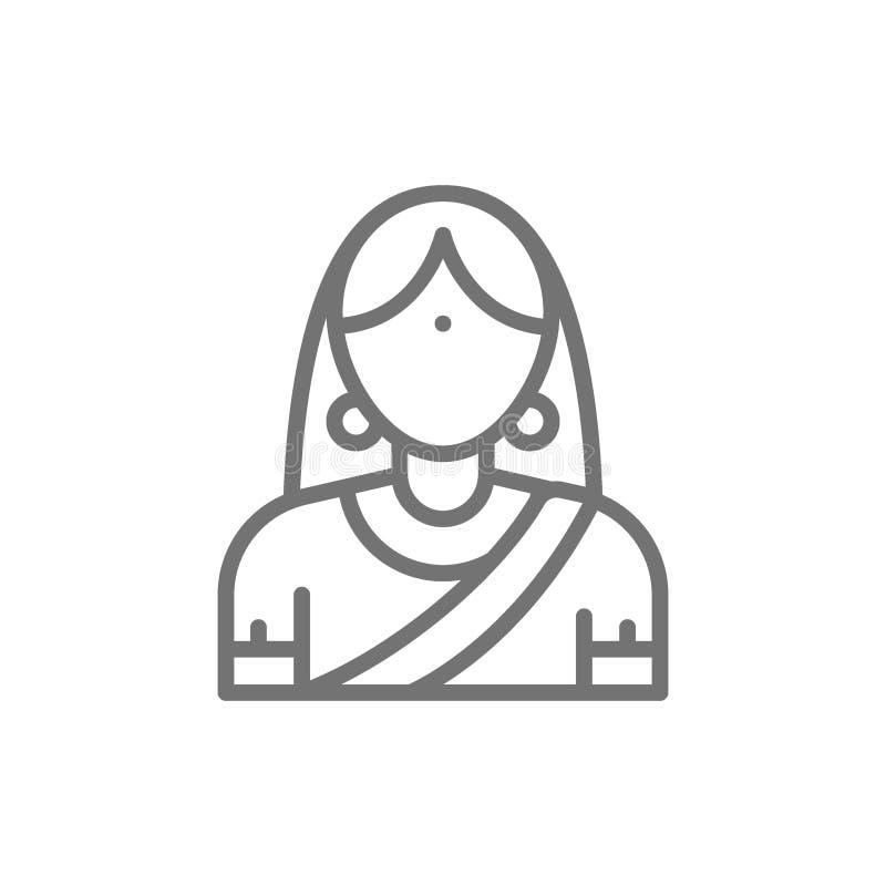 Indisk kvinna i den traditionella nationella klänningen, brudlinje symbol royaltyfri illustrationer