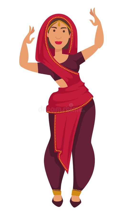 Indisk kvinna i sari som dansar tradition och egenar av Indien stock illustrationer