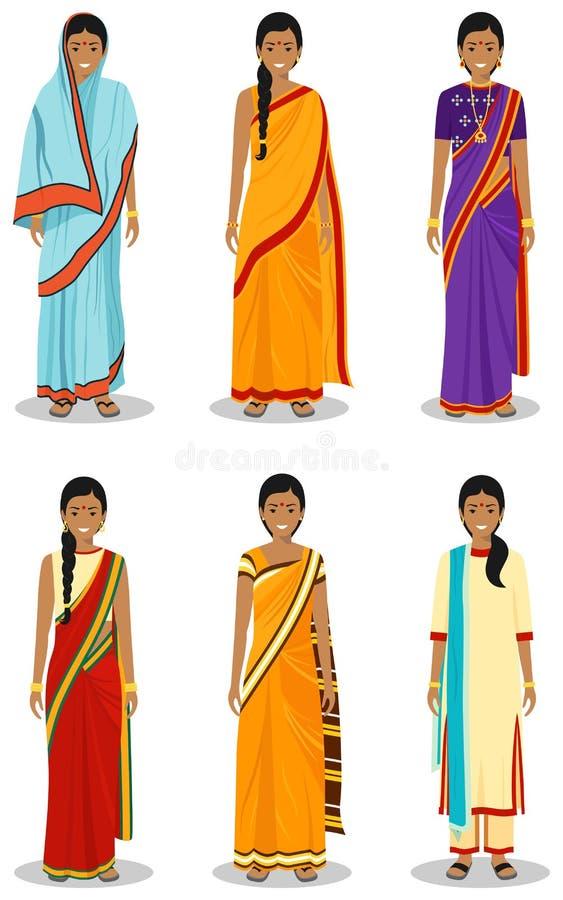 indisk kvinna Uppsättning av olika stående unga vuxna kvinnor i de traditionella nationella kläderen som isoleras på vit vektor illustrationer