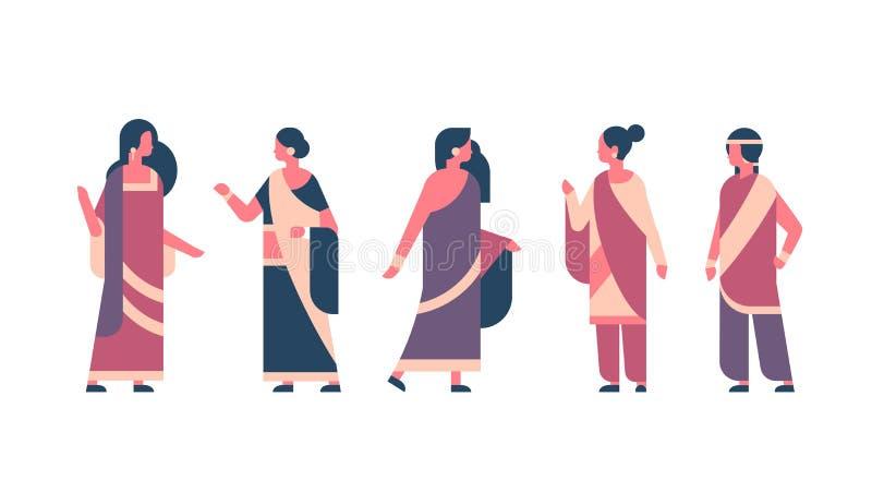Indisk kvinnagrupp som mycket bär teckenet för tecknad film för nationellt traditionellt för kvinnaberöm för kläder hinduiskt beg royaltyfri illustrationer