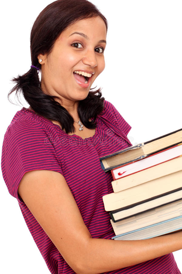 Indisk kvinnlighögskolestudent royaltyfri fotografi