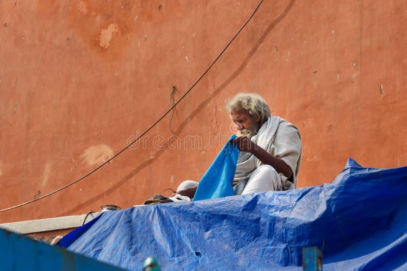 Indisk ?ldre gemene man i Jaipur Rajasthan india arkivbilder