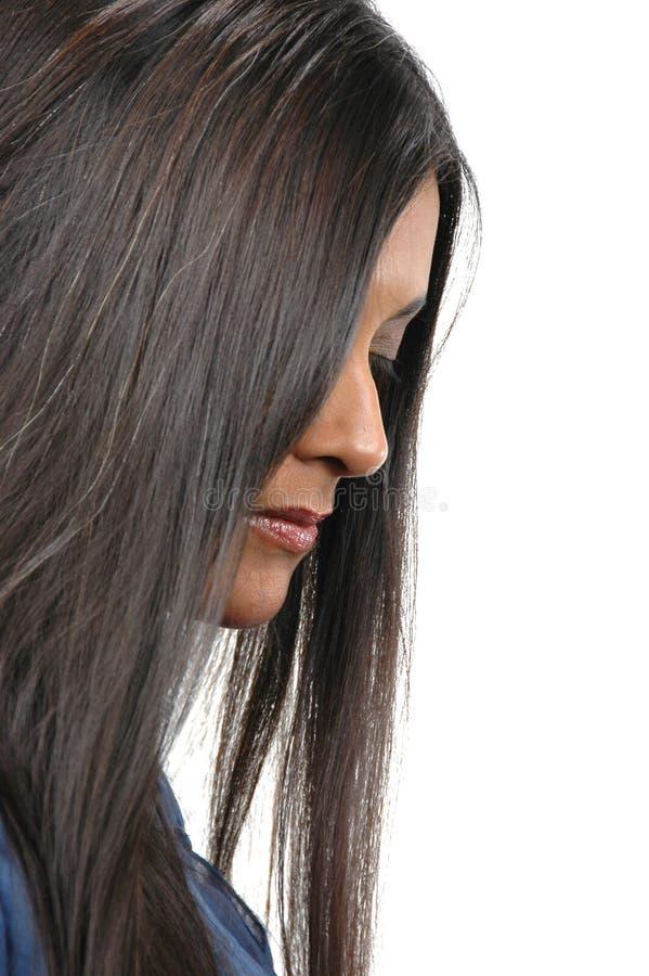 indisk lookindprofil för flicka arkivfoton