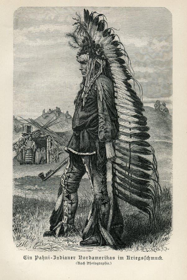 INDISK MAN 1890 FÖR INDIAN SOM BÄR HÖGSTA HUVUDBONADER FÖR FJÄDER FÖR PATANI-KRIGKLÄDER fotografering för bildbyråer