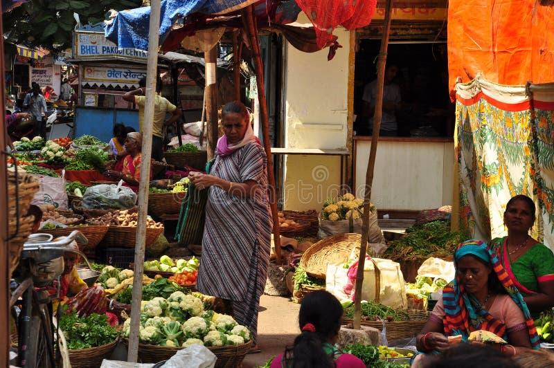 Indisk marknad för gatafrukt- och grönsakbonde arkivbild