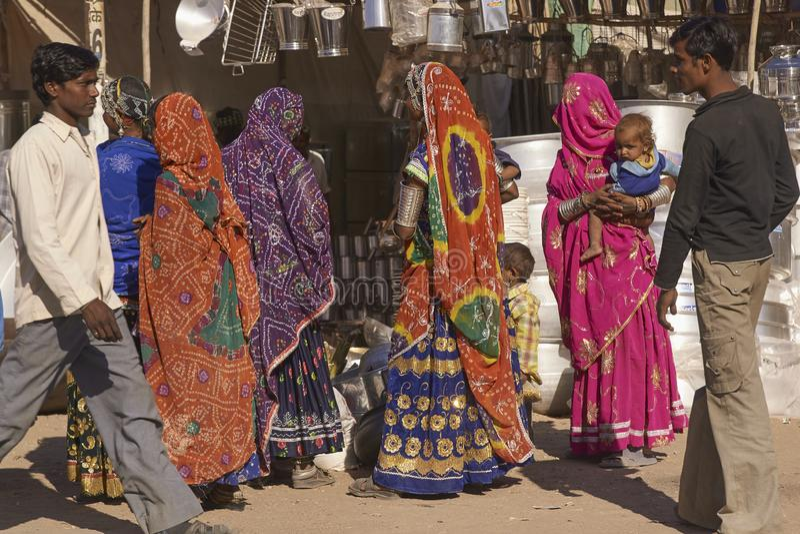 Indisk marknad i Nagaur, Rajasthan, Indien arkivfoton