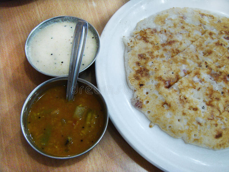 Indisk mat matställe Dosa royaltyfria bilder