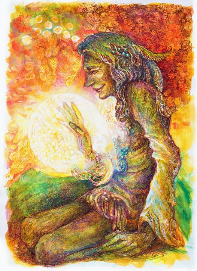 Indisk medicinman för grön hippie med en boll av att läka vitt ljus royaltyfri illustrationer