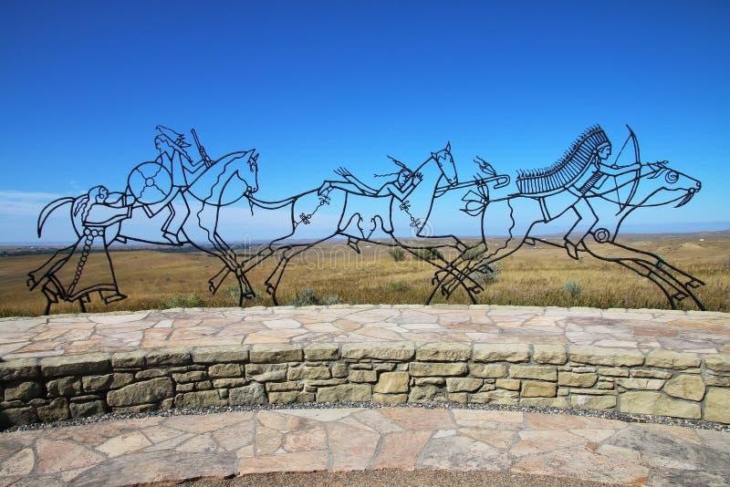 Indisk minnesmärke på den nationella monumentet för Little Bighornslagfält, royaltyfri fotografi