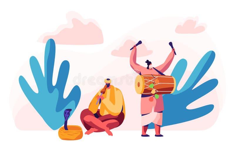 Indisk musiker Playing Drum Dhol och fl?jt i asiatisk festival Mannen hypnotiserar kobraormen i korg Musikinstrumentkonsert royaltyfri illustrationer