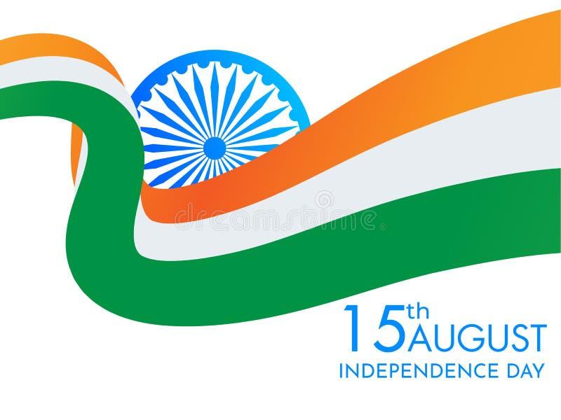 Indisk nationell vinkande flagga med den Ashoka hjulillustrationen för 15th Augusti, självständighetsdagenberömbegrepp Kan anv?nd royaltyfri illustrationer